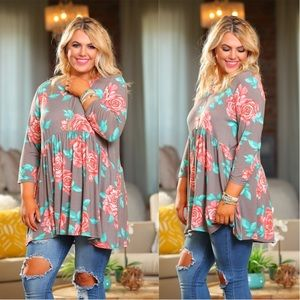 PLUS Taupe Floral 3/4 Sleeve Tunic